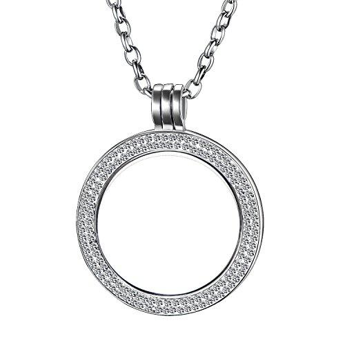 Morella Damen Halskette 70 cm Edelstahl mit Schmuckmünze Zirkonia Coin Anhänger 33 mm silber