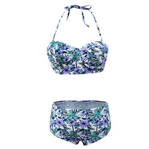 SEWORLD Bikini-Sets Frauen Badebekleidung Damen Tankini Sets Damen Gepolsterter Push-Up BH für Damen mit hoher Taille und Badeanzug-Badeanzug(Blau,EU-38/CN-L)