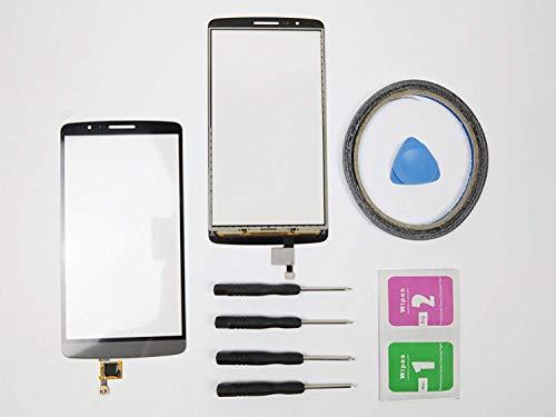 JRLinco Para LG G3 D855 Pantalla de Cristal Táctil, Touch Screen Digitizer Outer Glass Replacement (Sin LCD Display, no compre mal) Para LG G3 D855 negro gris + Herramientas y Adhesivo de Doble Cara
