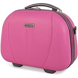 TEMPO - 64225 Neceser rígido ABS grande de viaje, maleta de aseo. Cierre cremallera doble cursor. Asa retráctil. Espejo interior., Color Rosa