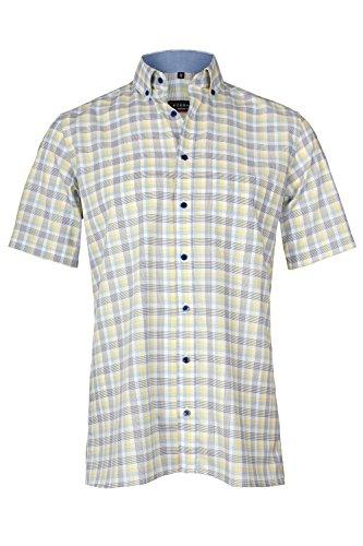 eterna Kurzarm Hemd Modern Fit mit Button Down Kragen Oxford Gelb/Blau Kariert Aus 100% Baumwolle, Grösse:W42. Länge Kurzarm (Gelb-oxford-hemden)