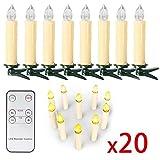 10/20/ 30/40 er Weinachten LED Kerzen Lichterkette Kerzen Weihnachtskerzen Weihnachtsbaum Kerzen mit Fernbedienung Kabellos (Beige, 20er)
