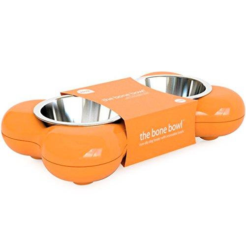 Vevendo, Bone 70, Ciotola Per Cibo Per Cani Doppia, Arancione,