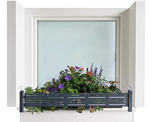 GREEN CREATIONS Blumenkastenhalterung masu Basis-Set passt auf Jede Fensterbank von 78 cm bis 140 cm ohne Bohren, ohne Beschädigung der Fassade (Basisset: modern, Anthrazit)