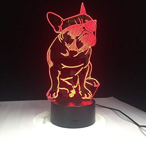 3D Nachtlicht Tierhund mit Brille Lampe 7 Farben Zuhause Dekor Tischleuchte,Optische Illusion LED Nachtlampe USB Tischlampe, für Kinder Weihnachten Geburtstag beste Geschenk Spielzeug