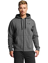 Under Armour Rival Fitted Full Zip, Felpa Uomo, Grigio Carbone, L