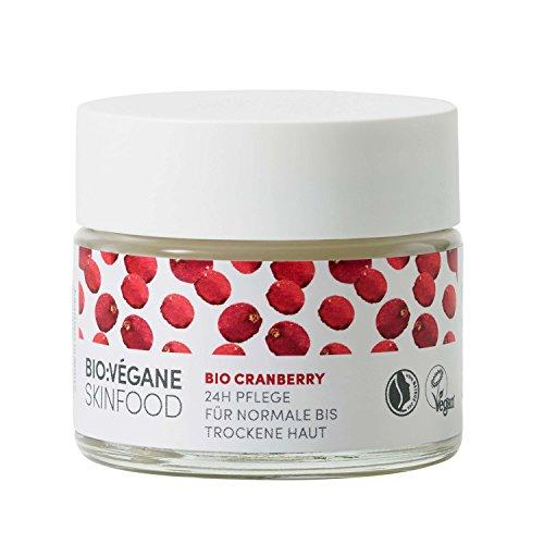 BIO:VÉGANE SKINFOOD Bio Cranberry - 24h Pflege für normale bis trockene Haut, vegan, NATRUE-zertifiziert, anhaltende Pflege für feuchtigkeitsarme Haut, 1er Pack (1 x 50 ml) -