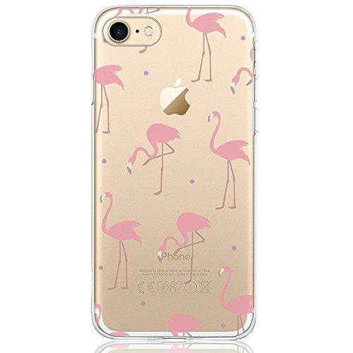 iPhone 8 Hülle, iPhone 7 Hülle (4,7 Zoll), DAPPⓇ Transparente Silikon Damen / Mädchen Schutzhülle, Handyhülle Case Durchsichtig mit Rosa Rot Flamingo Muster für iPhone 8 / 7 Flamingo