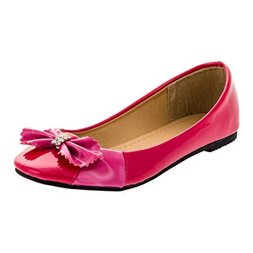 Mädchen Schuhe Kostüm - Eva Mode Festliche Kinder Mädchen Prinzessinnen Schuhe Ballerinas Lackoptik mit Schnalle M519pi1 Pink 31 EU