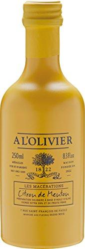 A l'Olivier - Olivenöl mit Zitrone (Citron de Menton) im Glasflakon 250 ml