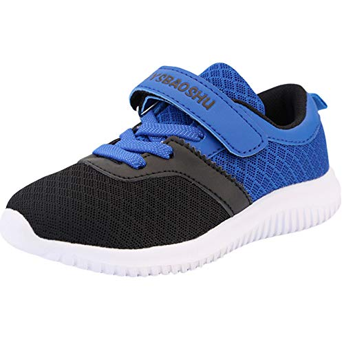 Minbei Kinder Turnschuhe Jungen Hallenturnschuhe Jungs Sportschuhe Anti-Slip Ultraleicht Atmungsaktiv Unisex Sneakers Schwarz/Blau Größe 33 EU/CN 34