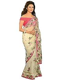 Adorn Fashion Nylon Mono Net Saree (Afp-552_Light Cream_Free Size)