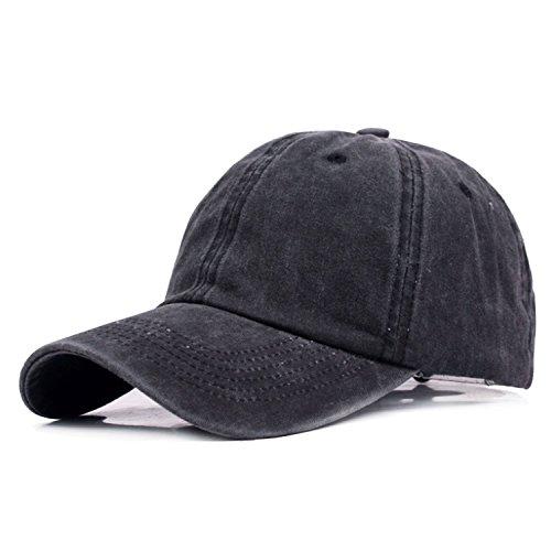 HowYouth Unisex Damen Herren 100% Baumwolle Vintage Cap Im Washed Baseball Capv Verstellbar Outdoor Sports Casual Plain Sonnenhut (Schwarz) (Plain Baseball Cap Schwarz)