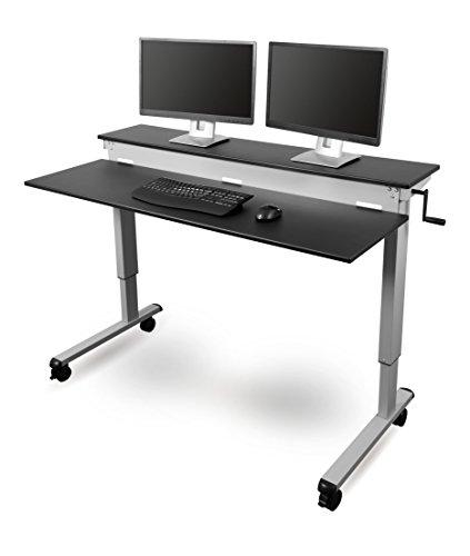 Höhenverstellbarer Schreibtisch - Zwei-Klassen- (Schwarz, Schreibtisch Länge: 150cm)