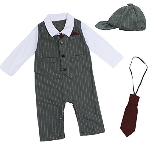 iEFiEL Kinder Baby Kleinkind Junge Kleidung Bodysuit Anzug Strampler Overall Gentleman Taufe Hochzeit 3-24 Monate (74-80 (Herstellergöße:80), Grau) (78 Tragen)
