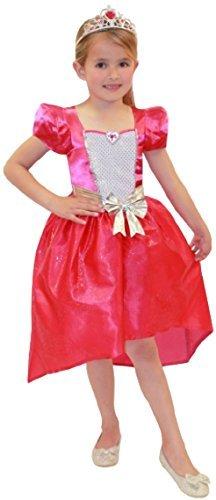 Mädchen Offiziell Pink Barbie Prinzessin mit passendem Puppenkleid Tiara Kostüm Kleid Outfit Set (Lust Kind Kleider)