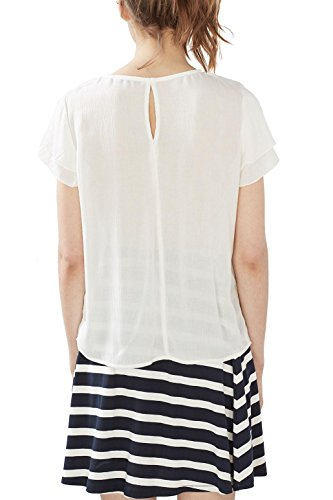 edc by ESPRIT Damen Bluse Weiß (Off White 110)