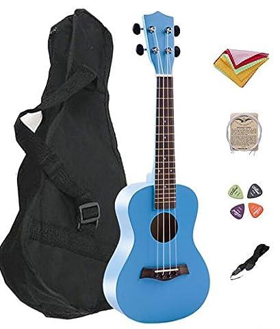 Melodic Classic Basswood Soprano 21 inch Solid Handmade Ukulele Starter Kit With Gig bag, Strap, Nylon String, Picks,Poling Clothes, Best Gift for Beginner, Student, Children, Adult (21inch,