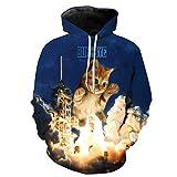 FINDMAX Plus Größe Sweatshirt 3D Print Lightning zerstört Katze Muster Unisex Casual Stilvolle Hoodies
