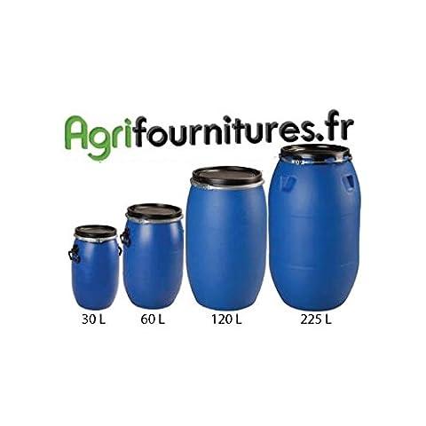 Fût plastique Alimentaire bleu à Ouverture Totale - Homologué