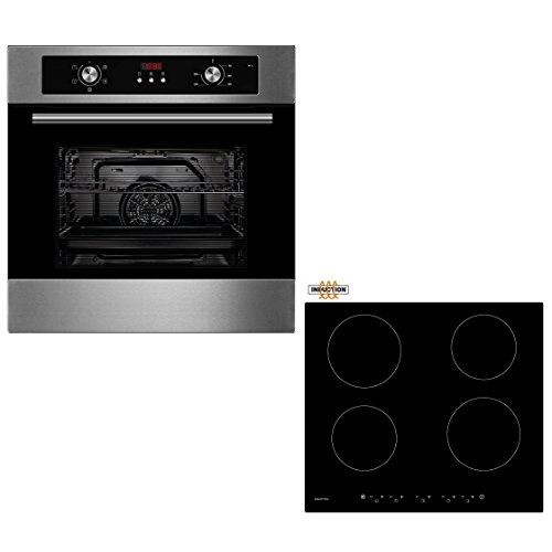 cookology-oven-hob-bundle-stainless-steel-unbranded-60cm-built-in-electric-fan-oven-with-digital-pro