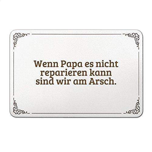 """Mr. & Mrs. Panda Türschild mit Spruch """"Wenn Papa es nicht reparieren kann sind wir am Arsch."""" - 100% handmade aus MDF - Schild, Türschild, Wandschild, Wanddeko, Deko, Geschenk, Sign, Haustür, Kinderzimmer, Familie, gravur Papa, Vater, Vatertag, Geschenk Mann, Mann, Männer, bester Papa Spruch Sprüche Lustig Spass Geschenk Geschenkidee Zitate"""