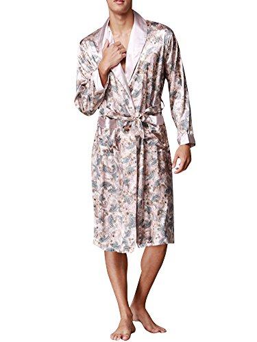 Herren Lange Klassische Schlafanzüge Charmeuse Morgenmantel Homewear Kimono Satin Bademäntel Robe Leichtes Kamel X-Large (Satin-robe Klassische Lange)
