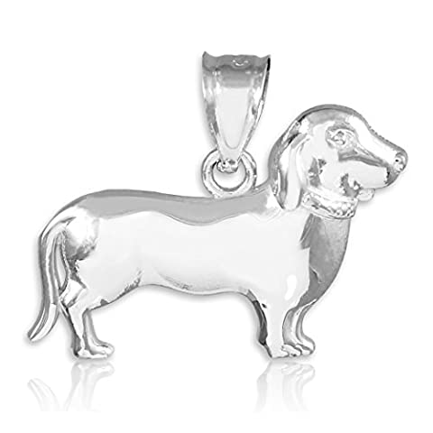 Little Treasures - 14 ct - White Gold Weiner Dog Dachshund Puppy Charm Pendant Necklace (Comes with an 18