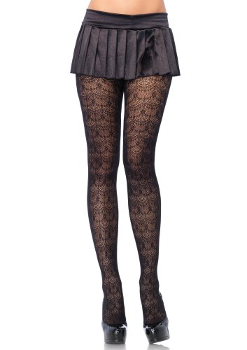 Preisvergleich Produktbild Verführerische Kronleuchter Spitze Strumpfhose Strumpfhose von Leg Avenue, schwarz, one size