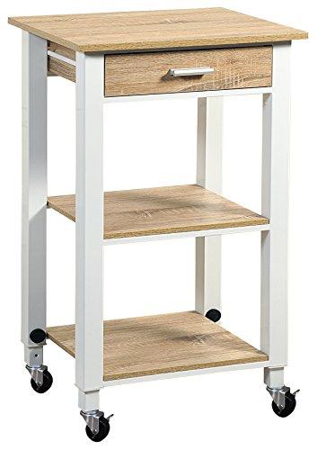 Kesper, höhenverstellbar 81-91 cm Küchenwagen, Holzdekor, weiß, 46 x 38 x 91 cm
