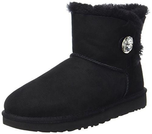 Boots Frauen Clearance Ugg (UGG Australia Damen Mini Bailey Button Bling Stiefel, Schwarz, 41 EU)