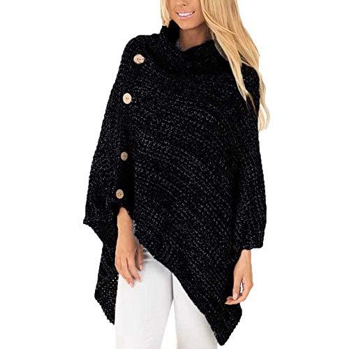 YSHJF Pullover Frauen Herbst Winter Warme Outwear Lose Strick Rollkragen Poncho Button Unregelmäßiger Saum Pullover Pullover