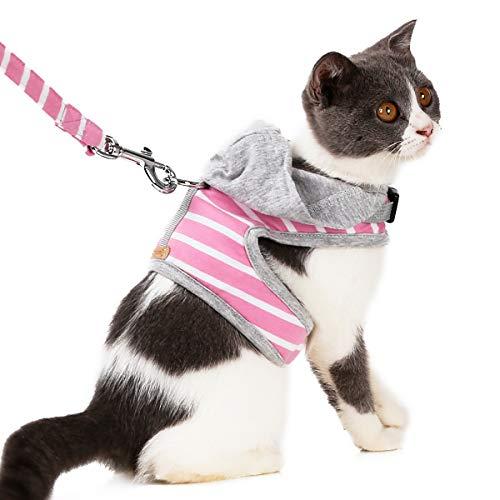 ubest Geschirr für Katzen Katzengeschirr Kleine Katze Katzengarnitur Ausbruchsicher Welpengeschirr Soft Kaninchengarnitur Katzenweste Verstellbar Schutz Kitten, Rosa, XS