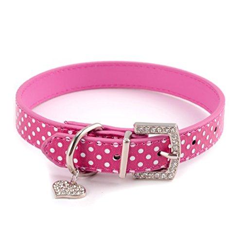 BbearT® Pet Dog Collar,Bling Rhinestone Love Pendant Small Puppy Dog Cat Collar Lovely Polka Dot PU Leather Pet Collars for Small Dog Medium Dogs Girls (S-37cm, Pink)