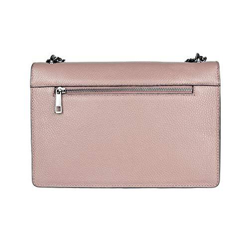 RACHEL PEBBLE Umhängetasche Handtasche mit Kette und Schließen von Zubehör metallischen dunklem Nickel, gekörntes Leder, Hergestellt in Italien - Gucci Medium Umhängetasche