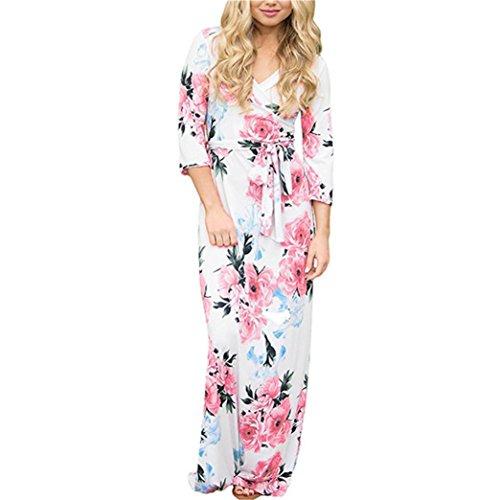 TWIFER Damen Damen Herbst Langarm V-Ausschnitt Kleid Knopf MaxiKleid (XL, C-weiß) -