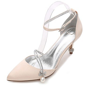 Rtry Chaussures De Mariage Pour Femmes Satin Comfort Spring Summer Wedding & Amp; Robe De Soirée Bowknot Strass Heelivory Champagne Plaque Bleu Rubis Us8.5 / Eu39 / Uk6.5 / Cn40