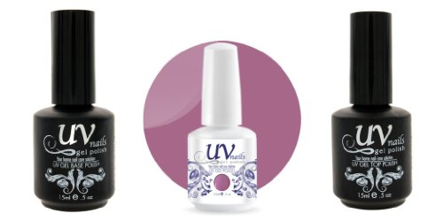 UV-Nails Vernis a Ongles Soak-Off Gel 15ml 16 Kisses #212 + Base & Top Coat 15ml + Aviva Polissoir a ongles
