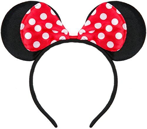 Haarreifen in schwarz mit Maus Ohren Minnie Mouse mit Schleife in rot mit weißen Punkten für Kinder & Erwachsene (Kostüm Minnie Maus Damen)