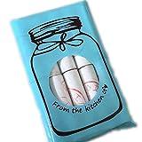 Fliyeong 100 Stücke Nette Backen Verpackung Tasche Flasche Brief Muster Selbstklebende Beutel DIY Zubehör für Süßigkeiten Cookie Schokolade Blau