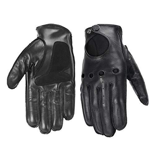 Guanti da moto Guanti moto in vera pelle di montone originali Guanti moto da uomo vintage guanti da moto (Color : Genuine Black, Size : XL)