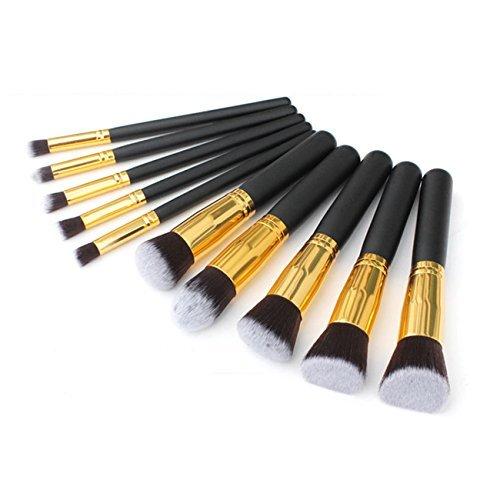 Fashion Base Lot professionnel Noir et Or Set de pinceaux maquillage pinceau fard à paupières