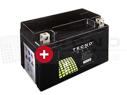 TECNO-GEL Motorrad-Batterie YTX7A-BS, 12V Gel-Batterie 6Ah (DIN 50615), 151x87x94 mm inkl. Pfand