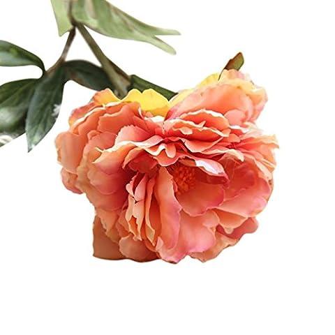 Hlhn Fleurs Artificielles Faux Pivoine Soie Floral Feuille Décor bonsaï pour Office Home bureaux Tables Garden Shop bouquets de mariage pour usage extérieur