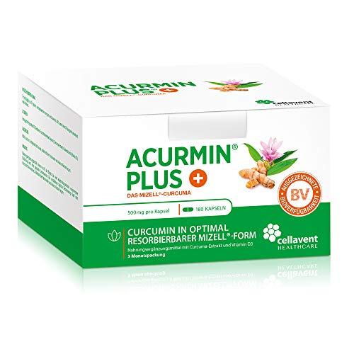 Kurkuma Kapseln hochdosiert von Acurmin PLUS: Das Mizell-Curcuma (Curcumin) - C14-Zertifiziert - mit Vitamin D3, OHNE Piperin/Bioperin/Pfeffer von Cellavent Healthcare - 180 Kurkuma Kapseln