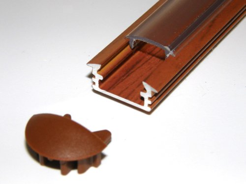 Lackiert Milchglas (Aluprofil für LED-Streifen, P1, PALISANDER, Holz, lackiert, Milchglas-Abdeckung, 2 Endkappen, Länge: 1 m/100 cm/1000 mm)