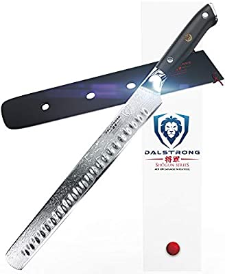 "DALSTRONG Slicing Carving Knife - 12"" Granton Edge - Shogun Series - AUS-10V- Vacuum Treated- Japanese Super Steel - Sheath"