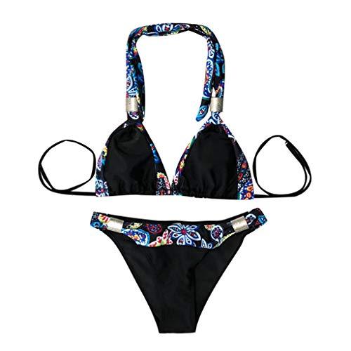 CICIYONER Damen Badeanzug Bademode Beachwear 2 Stück Patchwork Bandage Bikini Badeanzüge S-XL