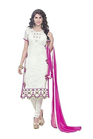 Da Facioun Indian Women Designer Anarkali White Salwar Kameez R-13038