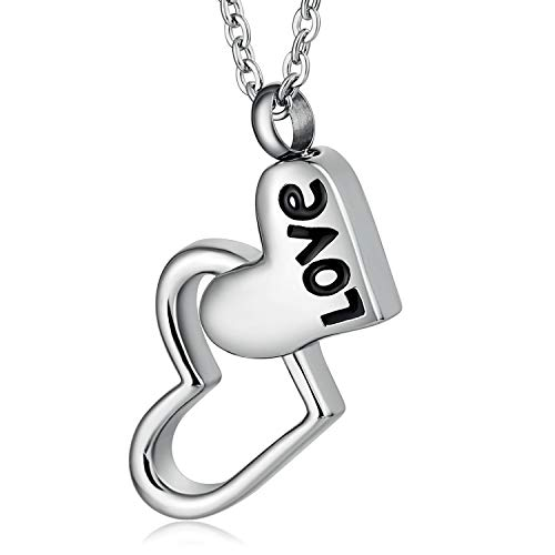 Epinki Herren Halskette Edelstahl Urne Aschebehälter Love Doppel Herz Anhänger Ash Hängende Ketten Silber